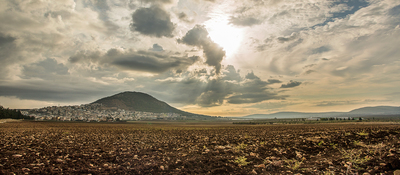 Panorama of Tabor Mountain and Jezreel Valley in Galilee, Israel