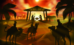 Christmas nativity scene, baby Jesus, Mary and Joseph in manger. Bethlehem in background. 3 Wise Men riding camels in silhouette to pay homage. The star above stable. Christian religious illustration.