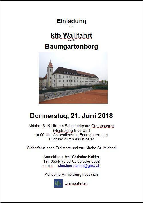 Einladung Wallfahrt Baumgartenberg
